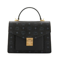 MCM Medium Patricia Visetos Leather Satchel In Black