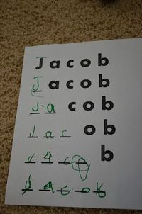 to help children who can't write their names independently - dotted font for gaps