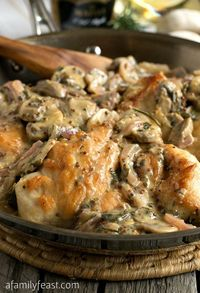 Chicken Breasts with Mushroom and Onion Dijon Sauce Recipe ~ sophisticated comfort food... Tender boneless chicken breasts are sautéed with sliced mushrooms and onions, then smothered in a rich, creamy sauce that has been flavored with a mix of tradition...