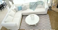 This is going to be my next house project. I'm sick of cleaning up pet messes and looking at our ugly sectional, so this tutorial on how to turn canvas dropcloths into a slipcover will be handy!