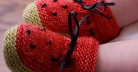 Ravelry: Watermelon Booties pattern by Kathie Popadin