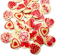 CLEARANCE Pack of 50 Round Assorted Beige Red Heart Buttons. 20mm Valentine's Day Love Dress Maker Sewing Fasteners £4.99