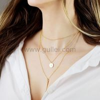 Gullei.com Custom Name Initial 3 Layer Necklace Anniversary Gift for Wife