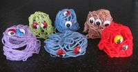 yarn monsters: put yarn in a container with watered down glue, then drape over a dixie cup, later add eye...from pre-schoolplay.blogspot.com