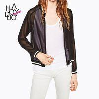 Winter 2017 new Womenswear fashion zipper thin see through chiffon long sleeve coat - Bonny YZOZO Boutique Store
