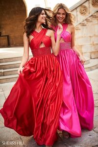 SHERRI HILL SPRING LONG SATIN EVENING GOWN 51621