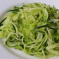 Low Carb Zucchini Pasta | �€œZucchini sliced into thin strips can replace spaghetti for a lower-carb and gluten-free meal. Serve with your favorite pasta sauce.�€