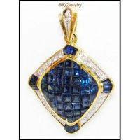 Unique Diamond Blue Sapphire Pendant 18K Yellow Gold [P0071]