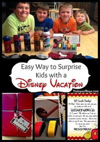 This is a fun and easy way to surprise your kids with a Disney vacation. Includes links to free resources and other fun ideas.