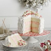 white cake, peppermint cheesecake layers, white chocolate mousse frosting