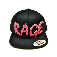 RAGE - Hot Pink Acrylic letters on Black Snapback Hat