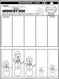 Winter Snowmen Order By Size is a cut and paste activity