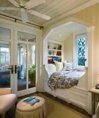 Totally want a bed like this but a reading nook seems more realistic/ practical. Also loving the stained glass window :o)