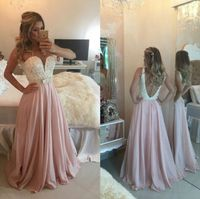 Pink Chiffon Beaded Sweetheart Long Prom Dress With Open Back