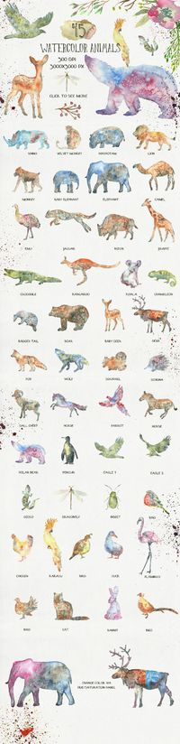 This is a collection of 45 watercolor animal silhouettes. They were painted in a wet watercolor technique. Great to use in logo design, business cards, avatars, birthday invitations, baby shower cards, web design, posters, flyers and more. There is also f...