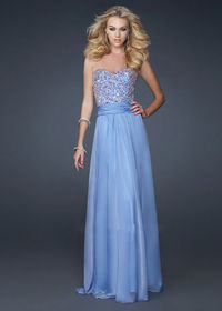 Periwinkle Strapless Encrusted Sequin Chiffon Full Length Dresses for Prom Party http://www.2014partydresssale.com/