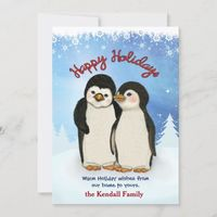 Penguin Winter Greetings Holiday Card