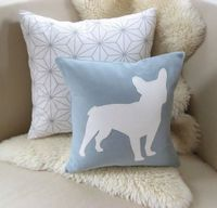 French Bulldog Pillow Cover Modern Spa Blue & Warm by VixenGoods