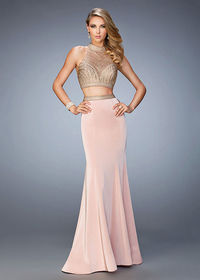 Modern Halter Style Two Piece Blush Embellished Crop Top Prom Dress