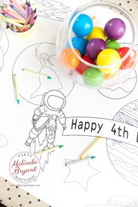 Space Birthday Decorations Coloring Tablecloth Astronaut Rocket Explorer Themed Table Runner Kids Crafts Children's Party Games Activities $28.74