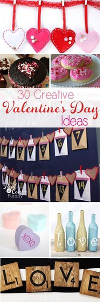 These are 30 of the best creative DIY Valentine's Day ideas! Recipes, crafts, free printables, and home decor that the whole family will love.