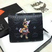 MCM Skating Rabbit Visetos Bifold Leather Short Wallet In Black
