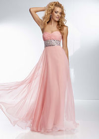 Cheap Long Pink Beaded Prom Dresses 2014