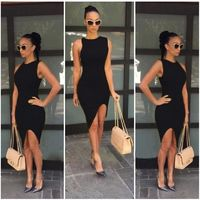 New Fashion Women Dress Solid Design Asymmetric Hem O-Neck Sleeveless Sexy One-piece