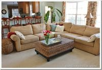 Family Room- Comfort Gray walls / Pottery Barn Sectional & Drapes / Coffee Table