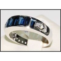Gemstone Diamond Natural Blue Sapphire Ring 18K White Gold [RQ0008]