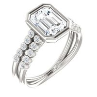1.5 Ct Emerald Diamond Engagement Ring Sterling Silver $4647.68