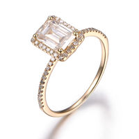 1.2CT MOISSANITE AND DIAMOND ENGAGEMENT RING 14K YELLOW GOLD HALO 5X7MM EMERALD CUT GEMS STACKING RING