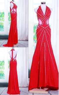 Sexy Mermaid Halter Backless Side CutOuts Red Chiffon Beaded Evening Prom Dress