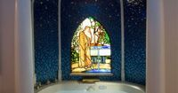 Cool Jacuzzi tub in the bathroom of the Disneyland Dream Suite. �™� Note the Hidden Mickey, which comes and goes as the LED lights sparkle.