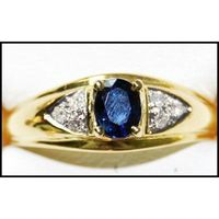 Solitaire Oval Blue Sapphire 18K Yellow Gold Diamond Ring [RS0201]
