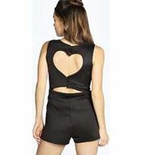 boohoo Cut Out Heart Back Sleeveless Playsuit - black Pick a playsuit for a fashion favourite that's easy to wear for every day and requires no effort on nights out. Strappy swing styles and basic jersey bandeaus are your saviour, and printed kimono...
