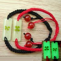 Gullei.com Personalized Glowing Clover Couples Rope Bracelets Set for 2