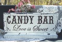 Hand Painted Wedding Sign Candy Bar Shabby Cottage Wood Sign Love is Sweet 13 x 5 and 1/2
