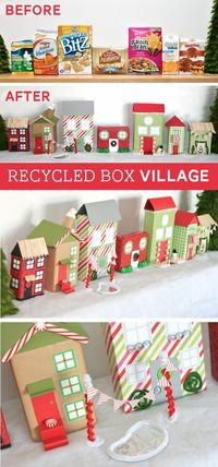 Make a Christmas Village with Recycled Boxes and wrapping paper -- free printable windows and decor at PagingSupermom.com