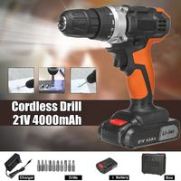 21V 4000mAh Cordless Rechargeable Power Drills 18+1 Electric Screw Driver with 1 Li-ion Batteries