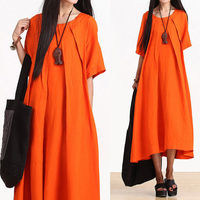 Orange round neck folds dress / long sleeve loose A fifth Dress