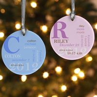 Good vinyl idea - Gift Tag for baby present becomes Christmas ornament