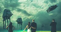 """The Force is strong with these two. At their wedding in Michigan on Friday, """"Star Wars"""" fans John and Mindy Doychich (along with their maid of honor a..."""