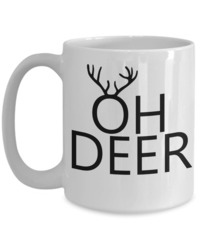 I'm Queer Mug, Gift Animal Mug, Deer Mug Will Hold The Perfect Amount Of Coffee, Oh Deer, Forest-winter Gifts Hunter Wife, 15 Oz White Mug $17.95
