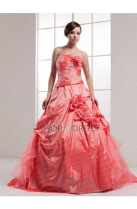 Appliques Red Zip up Satin Prom Dresses
