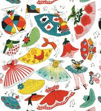 1950s vintage paper doll wrapping paper