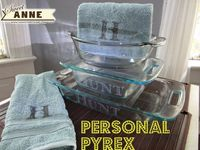 cute idea for a wedding present ... Personalized Pyrex + Kitchen Towels