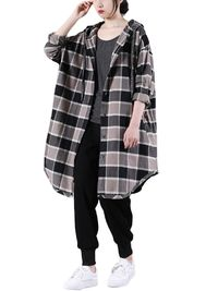 Cotton midi shirt, Oversized long sleeved shirt, plaid shirt, plus size clothes