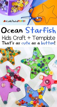 Starfish or sea stars are our favorite shapely invertebrate from the ocean and today we are sharing how to make one using paper, buttons, and our free craft tem