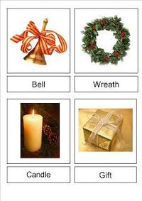 Free Printable: Christmas Vocabulary Cards - This is a set of 16 Montessori 3 Part Cards for Christmas. Image LIst: Bell, Wreath, Candle, Gift, Pudding, Santa, Decoration, Stocking, Tree, Lights, Star, Bon Bon, Nativity, Mince Pies, Reindeer, Candy Cane